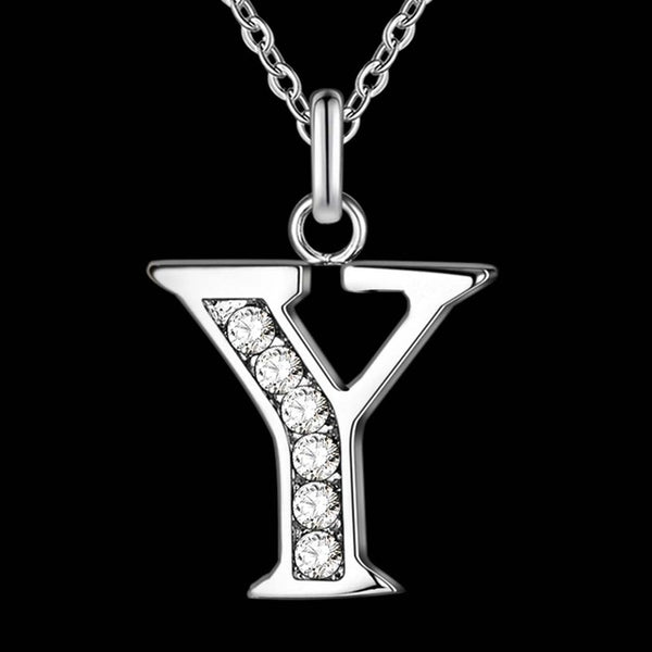Silver Plated Necklace & Letter Pendant T-Z (Unisex) - Plug Fashions