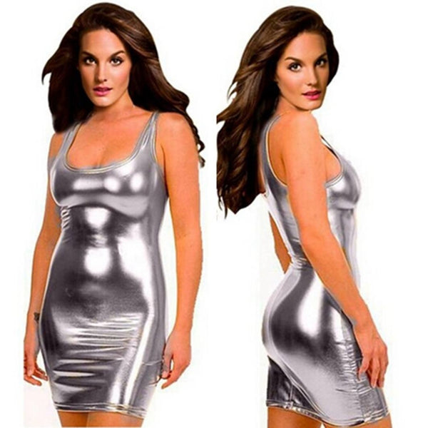Black, Gold, or Silver Sleeveless Latex Dress S-5XL - Plug Fashions