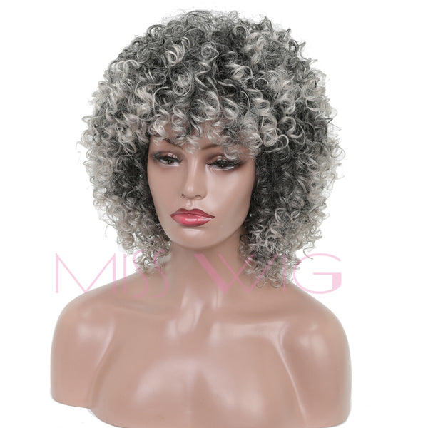 "16"" Long Afro Curly Wig Silver/Grey - Plug Fashions"