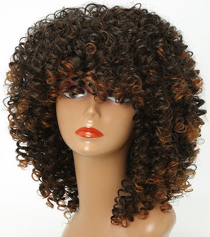 "16"" Long Afro Curly Wig Brown - Plug Fashions"