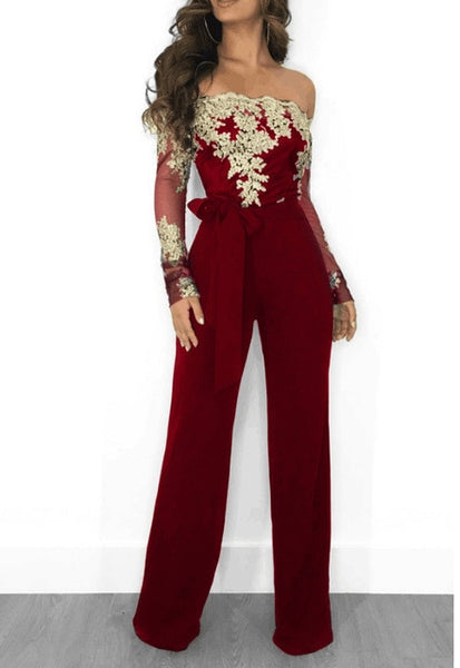 Lace Slash Neck Long Sleeve Jumpsuit (Different Colors Available) - Plug Fashions