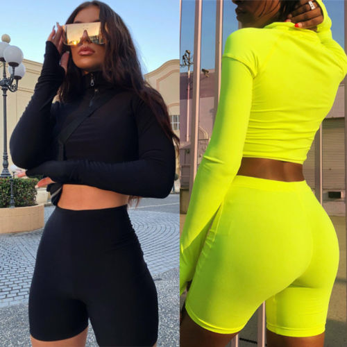 Black or Fluorescent Green Crop Top & Shorts Set - Plug Fashions
