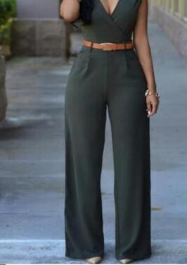 Classic V-Neck Jumpsuit With Belt S-2XL (Different Colors Available) - Plug Fashions