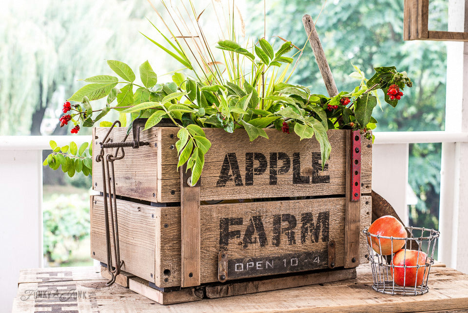Apple Farm stenciled on a DIY reclaimed wood crate is perfect for a fall display! By Funky Junk's Old Sign Stencils