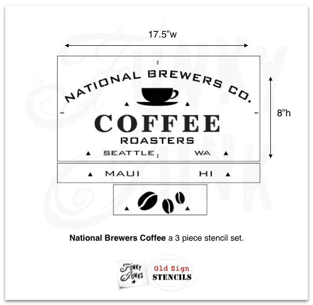 National Brewers Coffee stencil by Funky Junk's Old Sign Stencils is a coffee-themed stencil with a true coffee shop vibe! Styled around a vintage crate, this design includes a coffee cup graphic. Available in 2 sizes, perfect for small or larger rustic coffee signs.
