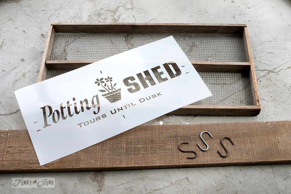 Paint Professional Looking Vintage; Potting Shed By Funky Junku0027s Old Sign  Stencils. Paint Professional Looking Vintage Farmhouse Styled Garden ...