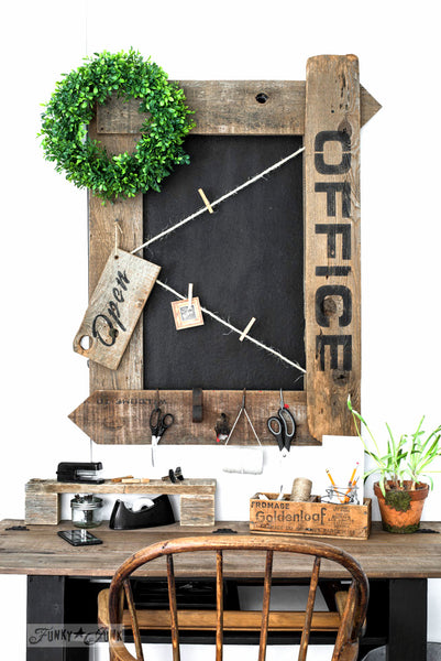 Make this Office framed bulletin painted chalkboard loaded with farmhouse charm with Funky Junk's Old Sign Stencils!