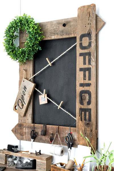 Make this Office framed bulletin painted chalkboard with Open sign with Funky Junk's Old Sign Stencils!