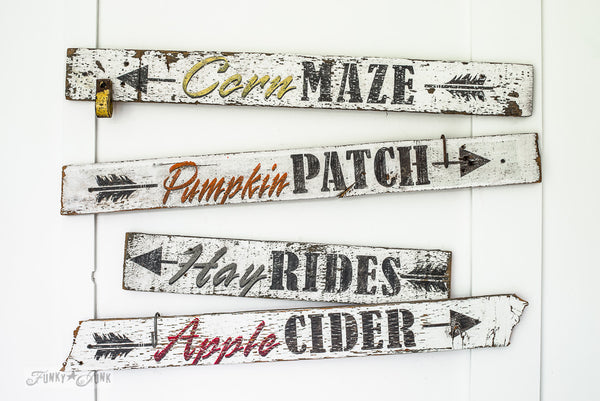 Chippy rustic Corn Maze, Pumpkin Patch, Hay Rides, Apple Cider arrow signs with Funky Junk's Old Sign Stencils