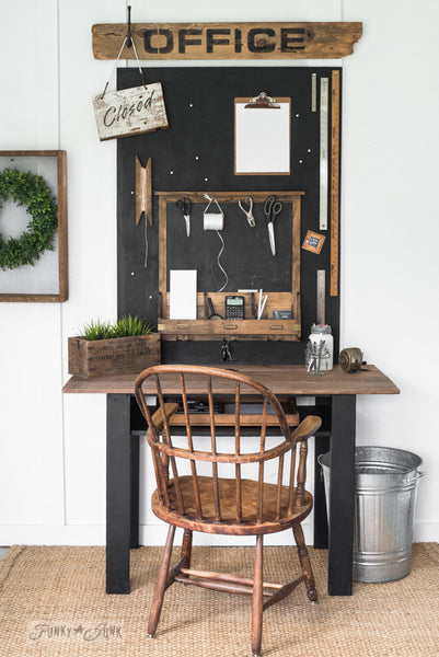 Make this Office sign with bulletin painted chalkboard loaded with farmhouse charm with Funky Junk's Old Sign Stencils!
