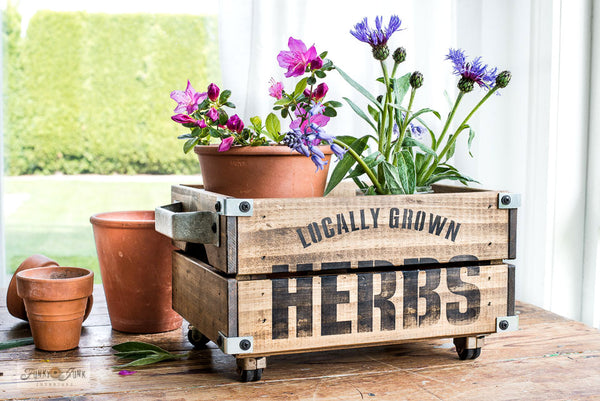 Locally Grown Herbs garden stencil by Funky Junk's Old Sign Stencils celebrates all things garden, sign, crate or grain sack style! Big, bold timeless letters with decorative herb leaf graphics to complete your garden loving story. This stencil is compact for smaller garden projects.