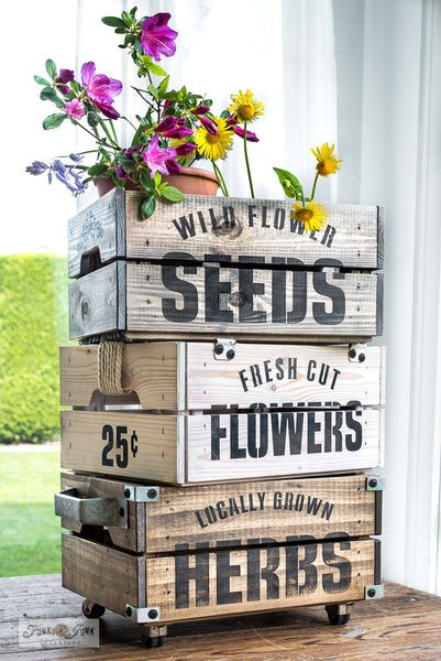 Fresh Cut Flowers 25 cents each stencil by Funky Junk's Old Sign Stencils celebrates all things garden, sign, crate or grain sack style! Big, bold timeless letters with decorative flowers and leaves, complete with a 25 cents each to complete garden loving story. This stencil is compact for smaller garden projects.