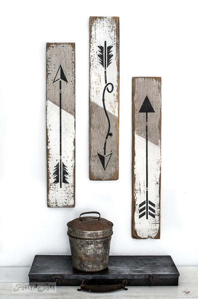 Arrow coffee mug hooks made with Arrow Kit from Funky Junk's Old Sign Stencils. Mix and match your own custom arrows!