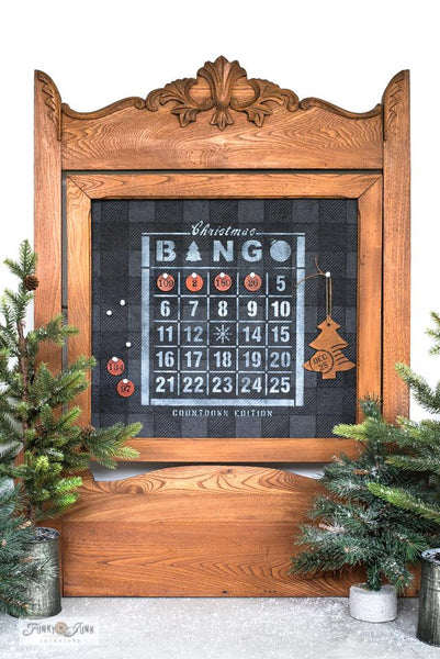 Christmas Countdown Bingo is a unique vintage Christmas-themed stencil designed to countdown Christmas from December 1st to the 25th. Designed on a Bingo Card with an ornament and tree graphic. Perfect for signs, pillows, as gifts, and of course, for the Bingo lover in your life! By Funky Junk's Old Sign Stencils.