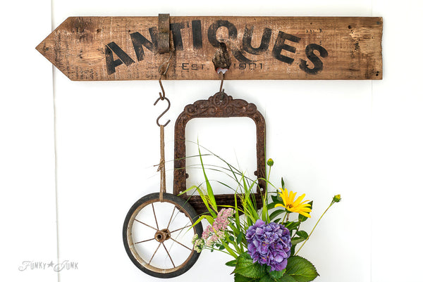 Antiques arrow sign | made with Funky Junk's Old Sign Stencils