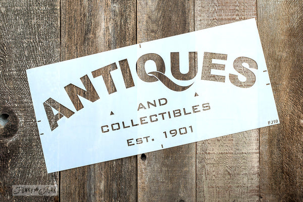 Antiques stencil by Funky Junk's Old Sign Stencils. Celebrate your love for vintage collections, by painting your own old Antiques sign onto reclaimed wood, furniture, etc!