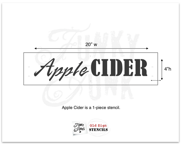 Apple Cider stencil by Funky Junk's Old Sign Stencils is the perfect stencil for fall,  Halloween or everyday decorating! Create a sign on reclaimed wood, use it on furniture, or anywhere desired! Collect all our fall signs that match - Corn Maze, Hay Rides and Apple Cider. Bring your signs to life by adding Arrow Kit and Fall Graphics!