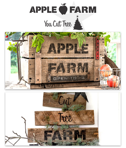 Apple Farm | You Cut Tree is a 2-piece stencil kit, offering mix and match all season designs! Stenciled vintage inspired sign designs that offer professional results.