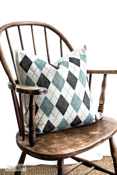 Argyle - large on an Ikea Jofrid pillow with Funky Junk's Old Sign Stencils! Argyle is a 2-piece stencil offering the ability to get a true argyle stenciled look. Offered in 2 sizes.