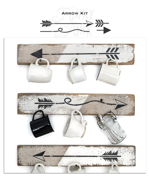 Arrow Kit is a versatile mix & match arrow kit that allows you to design your own arrows for your stenciled signs and more! Featuring straight feather arrows, curvy, and angular. Perfect to use with any sign, on furniture, whatever you desire. By Funky Junk's Old Sign Stencils.