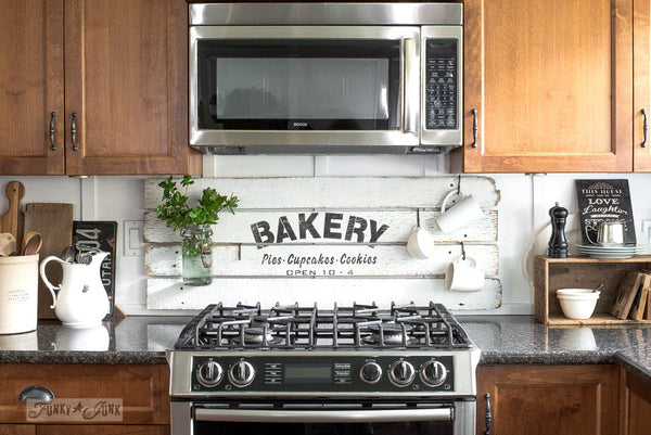 Make this shiplap farmhouse styled kitchen sign with BAKERY Pies Cupcakes Cookies stencil by Funky Junk's Old Sign Stencils
