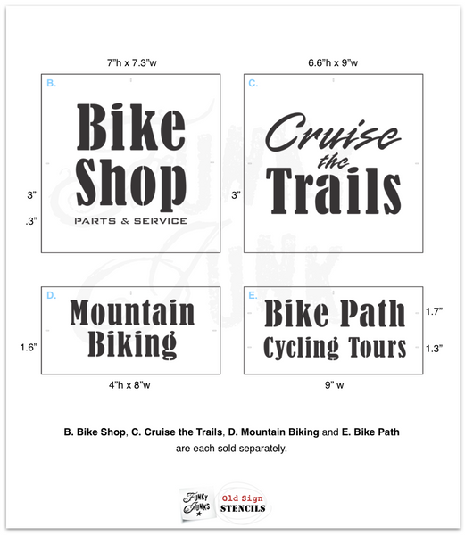 The Bike Collection stencils by Funky Junk's Old Sign Stencils offers many unique ways to customize! Includes an adaptable bike (male / female / sports / cruiser), bike basket, crate, dog, cat, flowers, and various bike sayings such as Bike the Trails, Cruise the Trails, Mountain Biking, Bike Path, and Cycling Tours.