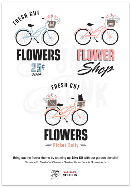 Flower-theme Bike Kit with a few of our garden-themed stencils! | Funky Junk's Old Sign Stencils