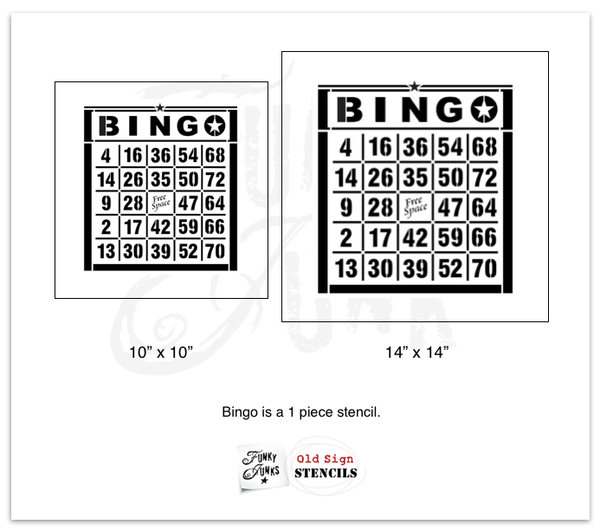 Stencil a vintage BINGO card image on anything you wish! Made with Funky Junk's Old Sign Stencils.