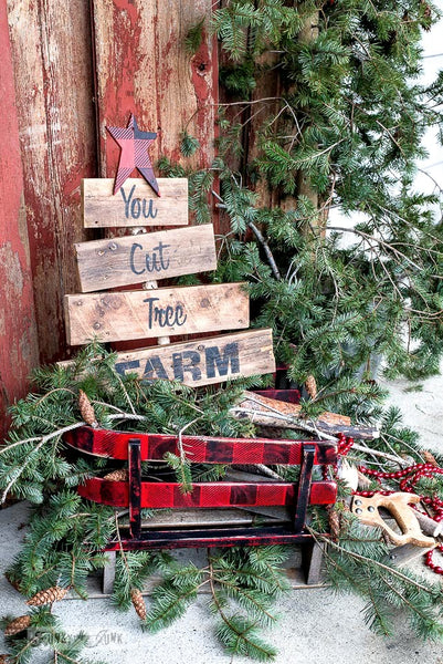Stencil this whimsical You Cut Tree Farm rustic tree-shaped sign with Funky Junk's Old Sign Stencils!