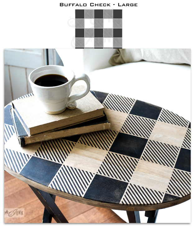 Buffalo Check - Large is a super-sized version of our iconic Buffalo Check - Medium! This highly detailed larger-scaled stencil is designed to help you stencil this timeless, iconic plaid pattern on any surface desired. Ideal for larger projects such as pillows and furniture.