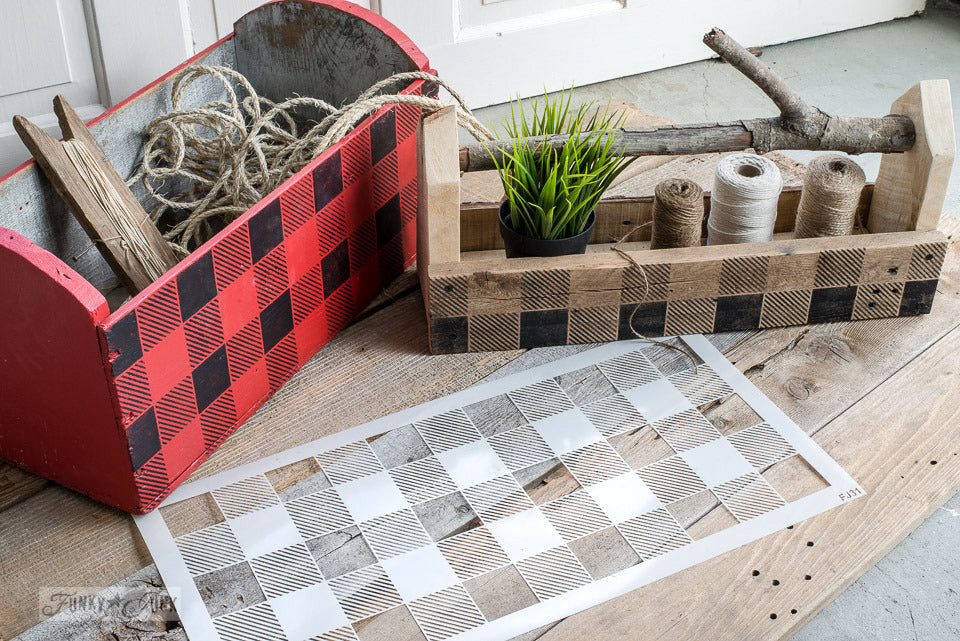 """Buffalo Check - Long by Funky Junk's Old Sign Stencils is a repeating pattern that helps you achieve a festive cozy cabin look! This version from our Buffalo Check stencil line measures 22"""" long for faster coverage. This stencil is a time-limited special available only until Dec 31, 2020."""