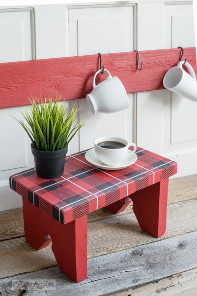 Buffalo Check and Plaid Shirt, two stencils layered to achieve a realistic plaid effect on a stool. By Funky Junk's Old Sign Stencils