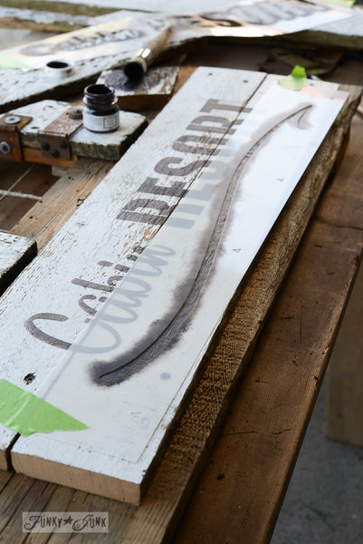 Swoosh by Funky Junk's Old Sign Stencils. Add a dash of a hand painted underlining element along the bottom of any Old Sign Stencil with the 'Swoosh!'