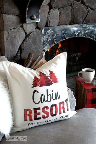 Create this charming Cabin Resort pillow with a side of cabin-styled Buffalo Check, also perfect for Christmas! With Funky Junk's Old Sign Stencils