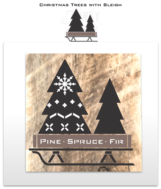 Christmas Trees with Sleigh is a Christmas sign stencil that celebrates creative tree decorating! Designed with two evergreen trees tucked inside a rustic crate tree skirt set on top of a sleigh. The trees are plain so you can decorate them as desired! Sized perfectly for throw pillows or as a Christmas sign.