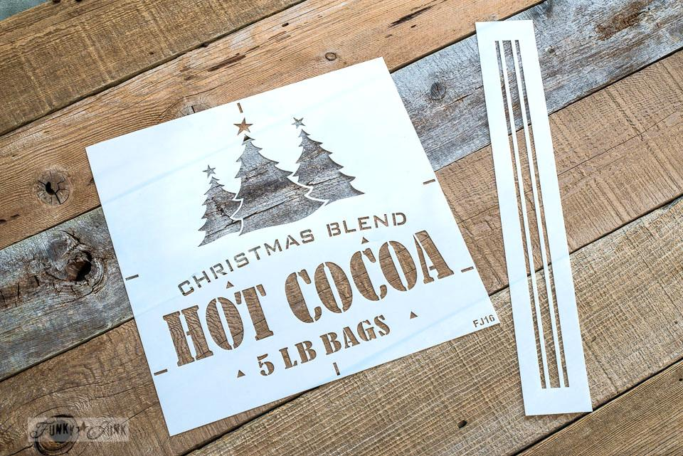 Christmas Blend Hot Cocoa 5 LB Bags is a charming Christmas stencil that comes with a grain sack stripe. By Funky Junk's Old Sign Stencils