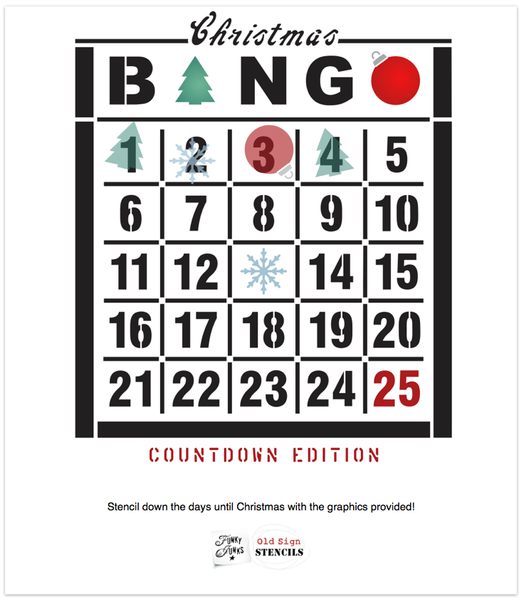 Christmas Countdown Bingo is a unique vintage Christmas-themed stencil designed to countdown Christmas from December 1st to the 25th. Designed on a Bingo Card with an ornament and tree graphic. Perfect for signs, pillows, as gifts, and of course, for the Bingo lover in your life!