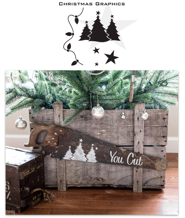Add whimsical Christmas trees, lights or stars to your crafts with Christmas Graphics stencil, by Funky Junk's Old Sign Stencils