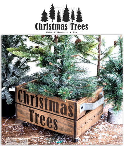 Christmas Trees is a charming Christmas tree farm-styled stencil design that includes text and a forest of 6 randomly sized hand drawn trees. By Funky Junk's Old Sign Stencils.