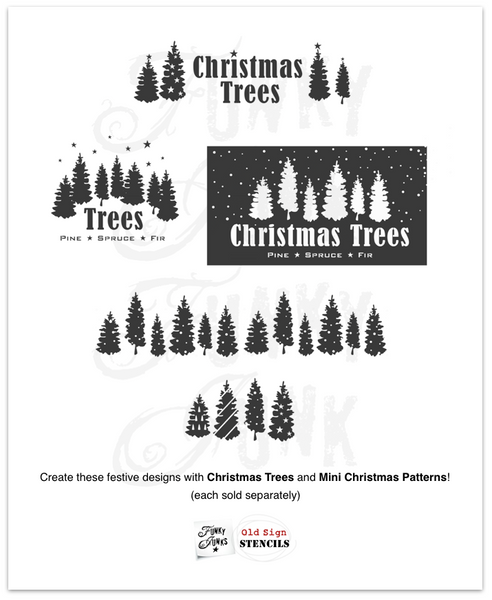 Stenciled designs you can create with Christmas Trees and Mini Christmas Patters stencils | Funky Junk's Old Sign Stencils