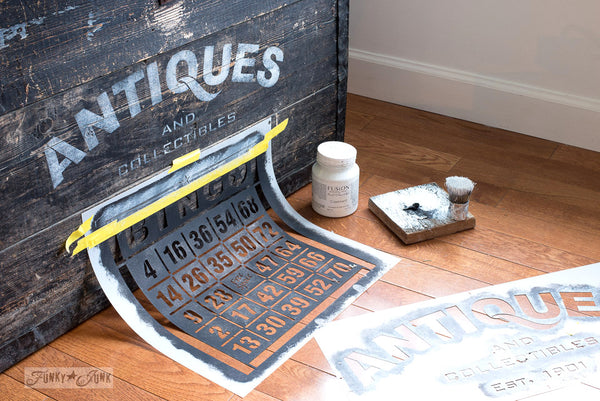 An enhanced Antiques crate utilizing part of the BINGO stencil from Funky Junk's Old Sign Stencils.