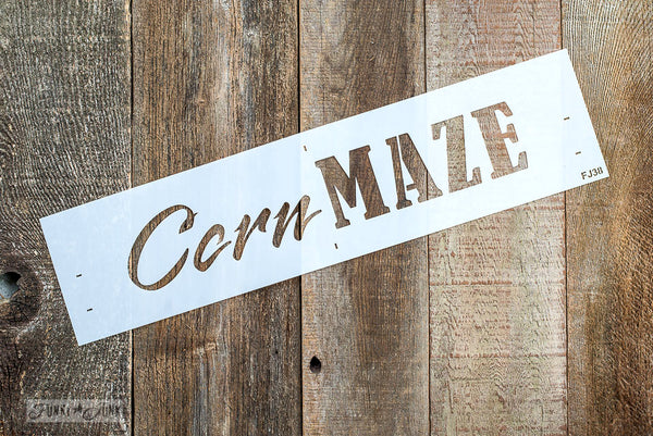 Corn Maze stencil by Funky Junk's Old Sign Stencils is the perfect stencil for fall or Halloween decorating! Create a sign on reclaimed wood, use it on furniture, or anywhere desired! Collect all our fall signs that match - Corn Maze, Hay Rides and Apple Cider.