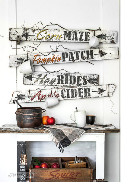 Collect all 4 iconic fall stencils to create this fall directional sign! Includes Pumpkin Patch, Apple Cider, Hay Rides and Corn Maze by Funky Junk's Old Sign Stencils.
