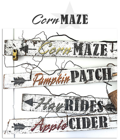 Corn Maze fall stencil by Funky Junk's Old Sign Stencils is the perfect stencil for fall or Halloween decorating! Create a sign on reclaimed wood, use it on furniture, or anywhere desired! Collect all our fall signs that match - Corn Maze, Hay Rides and Apple Cider.