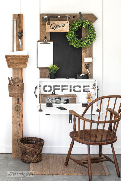 Make this lidded crate into a compact office sign desk with bulletin painted chalkboard loaded with farmhouse charm with Funky Junk's Old Sign Stencils!