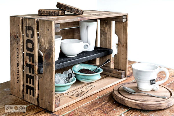 Make this compact rustic coffee station with an Ikea crate teamed up with Fresh Coffee and Shipping Crate Stamps from Funky Junk's Old Sign Stencils!
