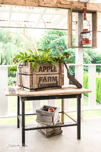 Stencil a charming rustic Apple Farm crate with a stencil by Funky Junk's Old Sign Stencils!