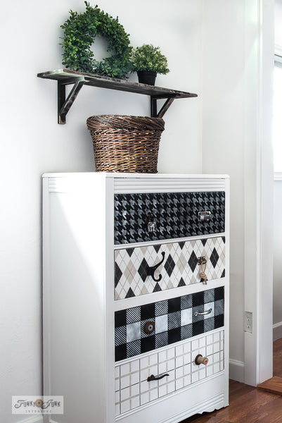 Pattern stencils including Houndstooth, Argyle, Buffalo Check and Plaid Shirt on a dresser from Funky Junk's Old Sign Stencils!