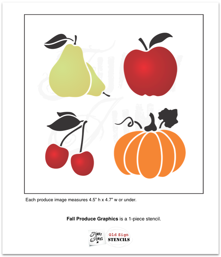 Fall Produce Graphics is a 1-piece stencil with 4 produce images that include a pear, apple, cherries and a pumpkin. Each fruit bears a leaf and they are all scaled to the same size to work well together and with our other fall stencil collections.