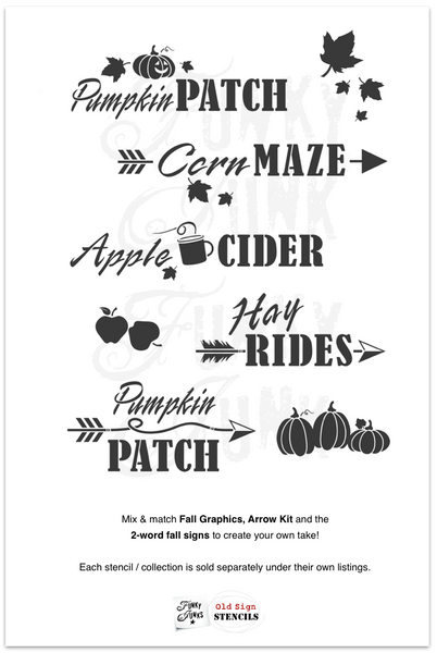 Pumpkin Patch stencil by Funky Junk's Old Sign Stencils is the perfect stencil for fall or Halloween decorating! Create a sign on reclaimed wood, use it on furniture, or anywhere desired! Collect all our fall signs that match - Corn Maze, Hay Rides and Apple Cider.
